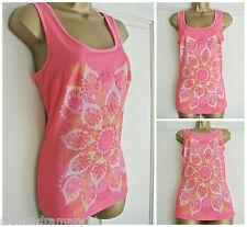 26f7cb01b556 New Ex Mantaray   Debenhams Pink Orange Floral Leaf Vest Top 8 10 12 14 16