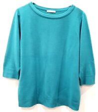 TARGET Womens Crewneck Knit Jumper Teal Blue 3/4 Sleeves Size 14