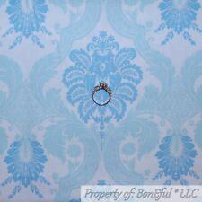BonEful FABRIC FQ Cotton Quilt White Light Blue VTG Antique Damask Flower Large