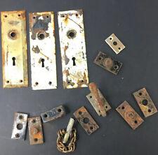 3 Vintage Skeleton Key Door Lock covers Metal + Other Salvage Lot