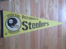 "Vintage 70s PITTSBURGH STEELERS Super Bowl Champions 30"" Pennant"