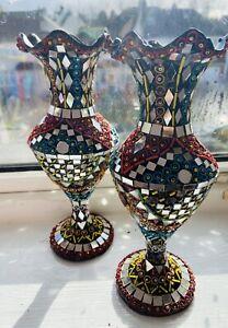 Handmade Mirror Beads Work Vase Pakistani/Indian Art Decor 2 Pieces vase Kashmir
