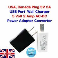 USA Plug 5V 2A USB Port Wall Charger 5 Volt 2 Amp AC-DC Power Adapter Converter