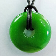 "Green Aventurine Stone 1 1/2"" Polished Translucent Donut Leather Cord Necklace"