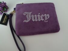 BNWT Juicy Couture Black Label Purple Mini Pouch Wristlet Clutch Bag Purse