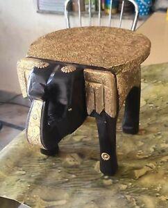 Handmade Beautiful Wooden Elephant Shape Floor Decor Brass Sheet Work Stool
