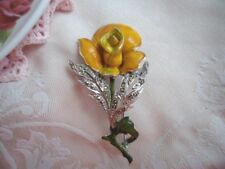 ANTIQUE VINTAGE SILVER ENAMEL and MARCASITE YELLOW ROSE FLOWER SPRAY BROOCH PIN