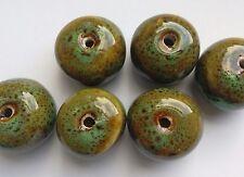 6 en céramique émaillée Blotter Perles, vert/bleu 20 mm fabrication de bijoux/perles/Artisanat