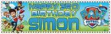 """2 PERSONALISED PAW PATROL BIRTHDAY BANNER 3 ft - 36 """"x 11"""" - ANY NAME, ANY AGE"""