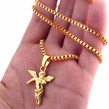 "Men Women 28"" Gold Color Chain Necklace Baby Angel Pendant Hip Hop Gift Jewelry"