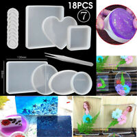 18PCS Silicone Mold Making Jewelry Set Polymer Resin Mould Pendant Craft Casting