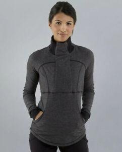 LULULEMON ~ Size 8 Base Runner 1/2 Zip Herringbone Black Pullover Pockets