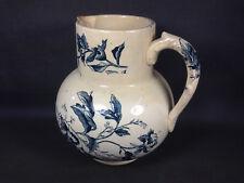 Ancien pichet de toilette pot en céramique décor fleurs rose french antique
