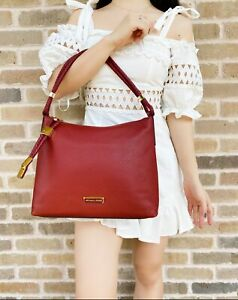 Michael Kors Lexington Medium Shoulder Bag Hobo Brandy Red Braided Strap