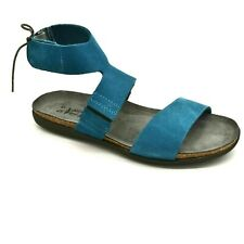 Naot Womens Larissa Leather Sandal Sz EUR 42 Pacific Blue Suede Ankle Strap NEW