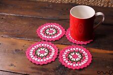 4x Handmade Crochet Round Coasters Pink Multi Colour Stripes Vintage Chic Doily