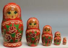 "Matryoshka Nesting Dolls 5pc Red w/ floral decor hp signed 4 1/2"" tall Russia"