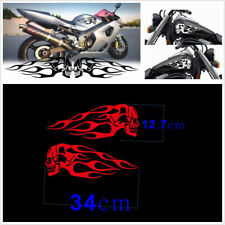 Waterproof 2Pcs Red Motorcycle Skull Flame Stripes Gas Tank Vinyl Decal Sticker