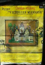 Vtg Paragon VICTORIAN MANSION Creative Stitchery Picture Kit 18x22 NEW