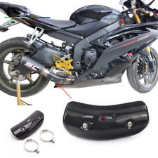 Real Carbon Fiber Motorcycle Exhaust Mid Link Pipe Protector Heat Shield Cover