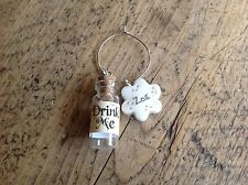 Drink Me Wine Glass Charm Personalised Any Name Handmade Wedding Alice Party
