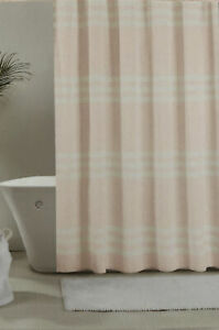 New Ugg Shower Curtain Riley Sunset Stripe Soft Pink & White 100% Cotton Fabric