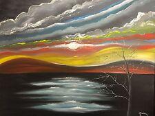 "24x30"" Modern Abstract Acrylic Painting On Canvas Art-""Reflexion De La Luna"""