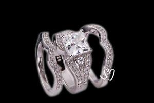 3pcs Princess Cut Wedding Engagement Bridal Band Ring Set 925 Sterling Silver
