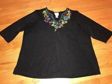 QUACKER FACTORY Floral Embroidery Black Onyx Womens Blouse Top Shirt Size 3X #
