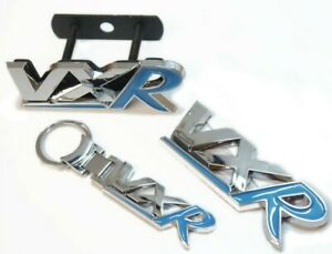 Chrome & Blue Badge & Keyring Set For VXR Models Tailgate Grill Upgrade