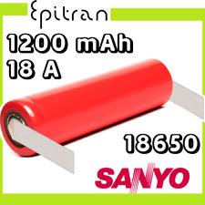 Batteria pila ricaricabile al a litio 3.7V 18650 1200mah Sanyo UR18650SA saldare