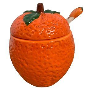 """Vintage Orange Pot Marmalade Jam Preserves Leaf Lid With Spoon Dimpled 6"""" Fruit"""