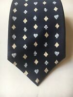 BVLGARI mens 100% Silk tie Navy blue with Hearts, Spades, Diamonds and Clubs