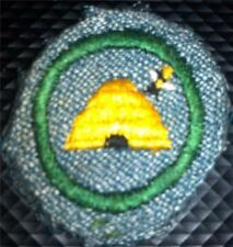1947 Girl Scout Badge Silver w/ WHITE BACKSTITCH  BEEKEEPER