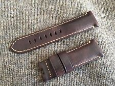 Genuine Officine Panerai Leather strap band 24mm Dark Brown Deployment buckle