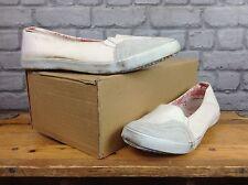 F-troupe femmes uk 7 eu 40 blanc toile plat chaussures