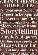 Grandparents House Rules Laminated Sign Christmas Novelty/Fun Gift Mothers Day