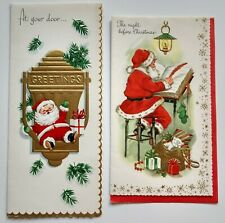2 Vintage Christmas Cards Red & Gold Santa Claus Mid Century Holiday Print