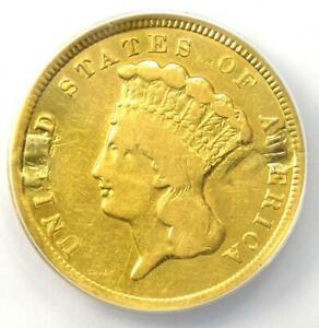 1854 Three Dollar Indian Gold Coin $3 - Certified ANACS F12 Details - Rare Coin!