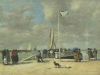BOUDIN FRENCH ON JETTY OLD ART PAINTING POSTER PRINT BB5298A