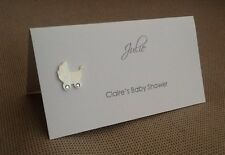 10 Handmade Personalised Name Place Cards - Baby Shower Pram - Many Colours!