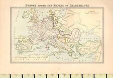 Mapa de c1880 ~ Europa bajo el imperio de Charlemagne