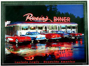 Classic Noi Cars Auto Drive-In Restaurant Poster 50s Anni Decorativa Firmare E98