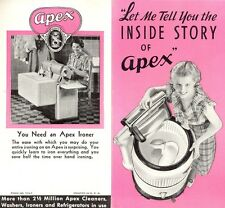 APEX WASHING MACHINES Vintage Fold Out Brochure B&W Photos Several Models