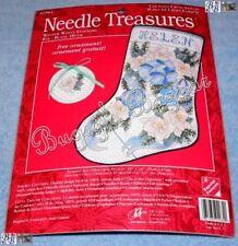 Needle Treas WINTER WHITE Christmas Stocking & Ornament Counted Cross Stitch Kit