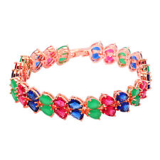Tanzanite Tourmaline Emerald Rose Gold Filled Gift Women Jewelry Bracelet NS1492