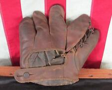 Vintage 1930s Spalding Leather Baseball Glove Split Finger Mitt Players Model