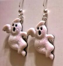White Ghost Glittery Halloween Dangle Earring