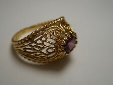 14K Yellow Gold Domed Filigree Vintage Ring w/ Purple Amethyst Size 6