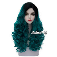 Lolita 60CM Long Black Mixed Turquoise Green Curly Cosplay Heat Resistant Wig